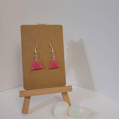 Shimmery Pink Triangle Earrings