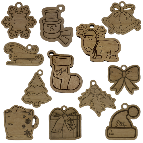Wooden Holiday Gift Tags | Set of 12