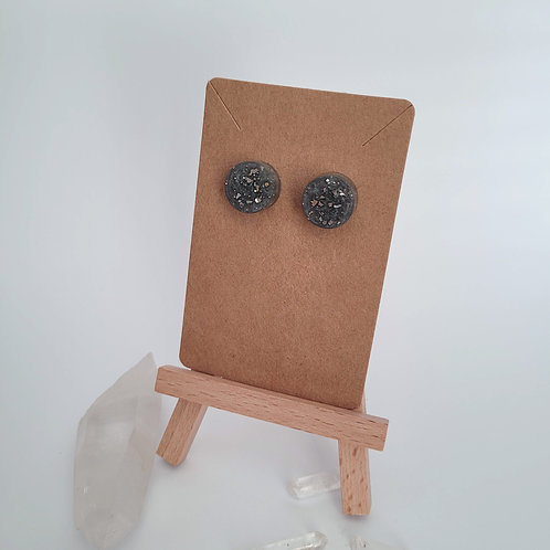 Grey And Silver Circle Stud Earrings