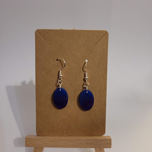 Purple And Blue Oval Earrings