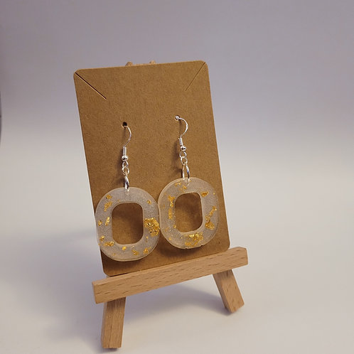 Gold Leaf And White Shimmer Hoop Earrings