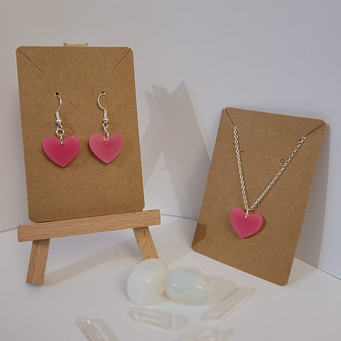 Small Pink Heart Earrings And Necklace Set