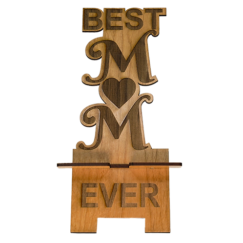 Best Mom Wooden Phone Stand
