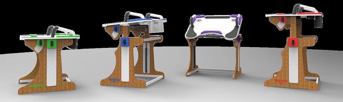 cuatro mesas Robbinas en diferentes posiciones