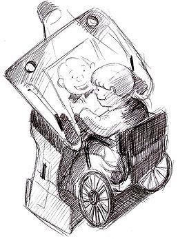 Caricatura de un niño dibujando sobre la Mes Incusva Robbina