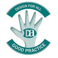 """Logo de """"Buena Práctica"""" de Design for all"""