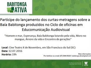 CURTA BABITONGA: Lançamento de curtas-metragens sobre a Baía Babitonga será realizado amanhã (12/07)