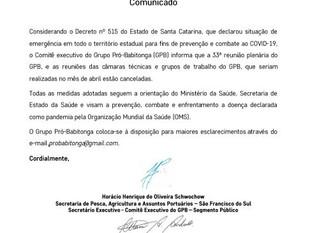 Grupo Pró-Babitonga cancela reuniões do mês de abril