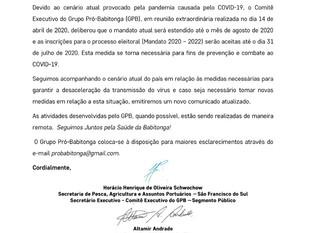 Grupo Pró-Babitonga adia eleições para agosto