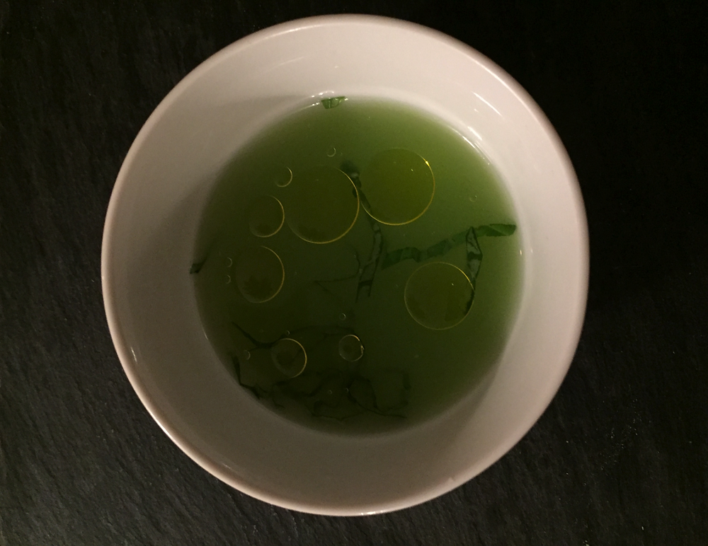 Cucumber Consomme, basil, Olive Oil