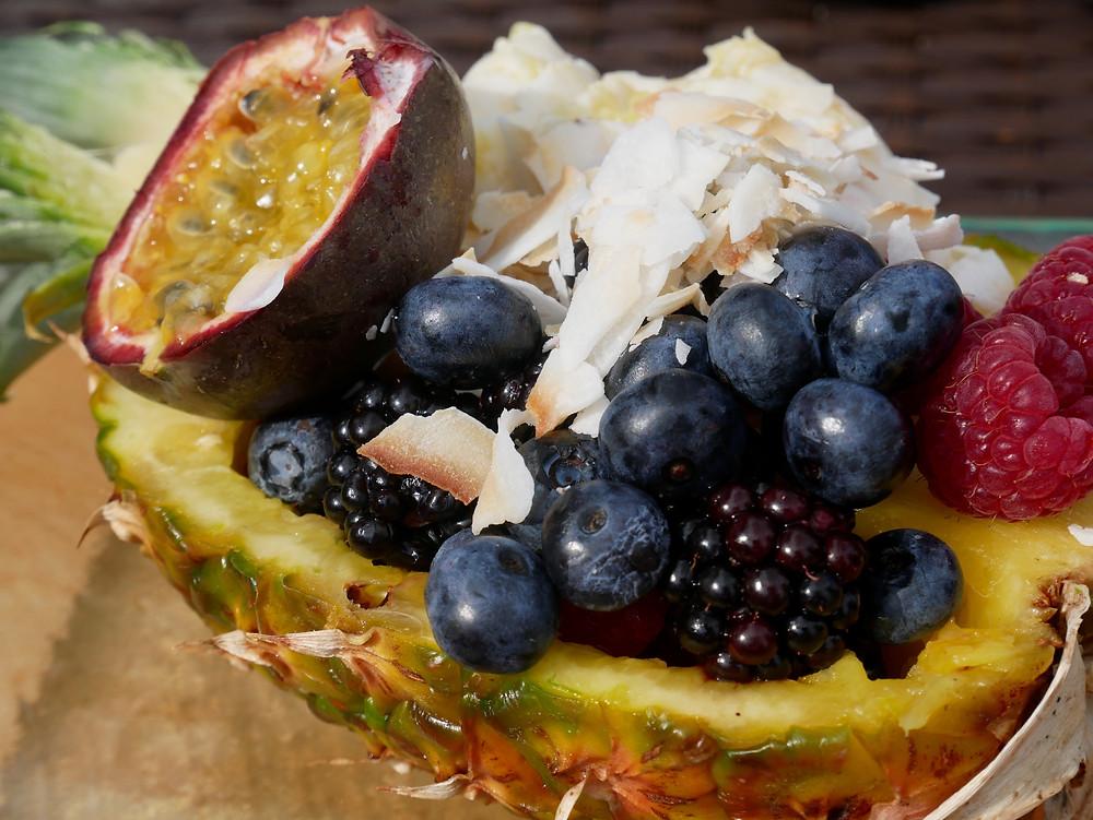 Ice Cream and fruit stuffed pineapple