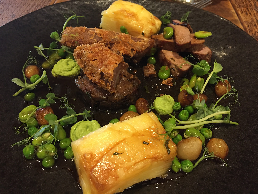 The Bell Inn Hampshire lamb, slow cooked, crispy and roasted, peashoots