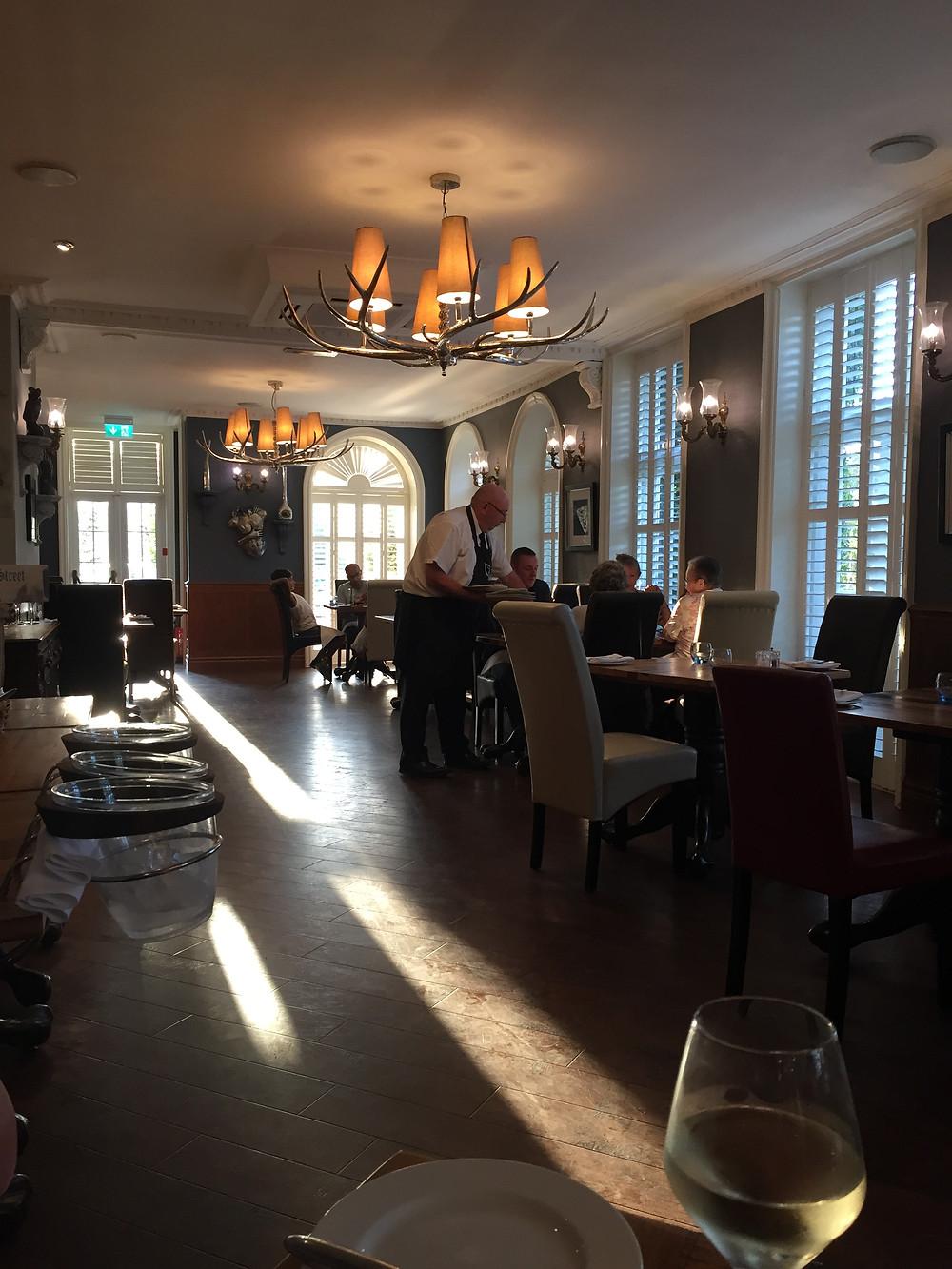 Inside Beresford's restaurant Balmer Lawn Hotel