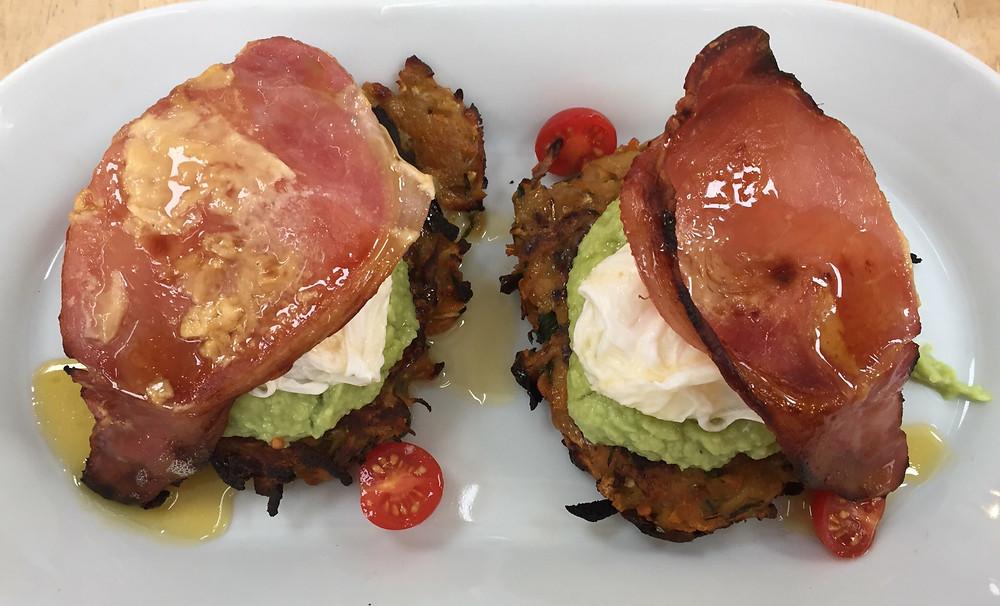 Kolrabi rosti , avocado, poached egg, maple smoked bacon