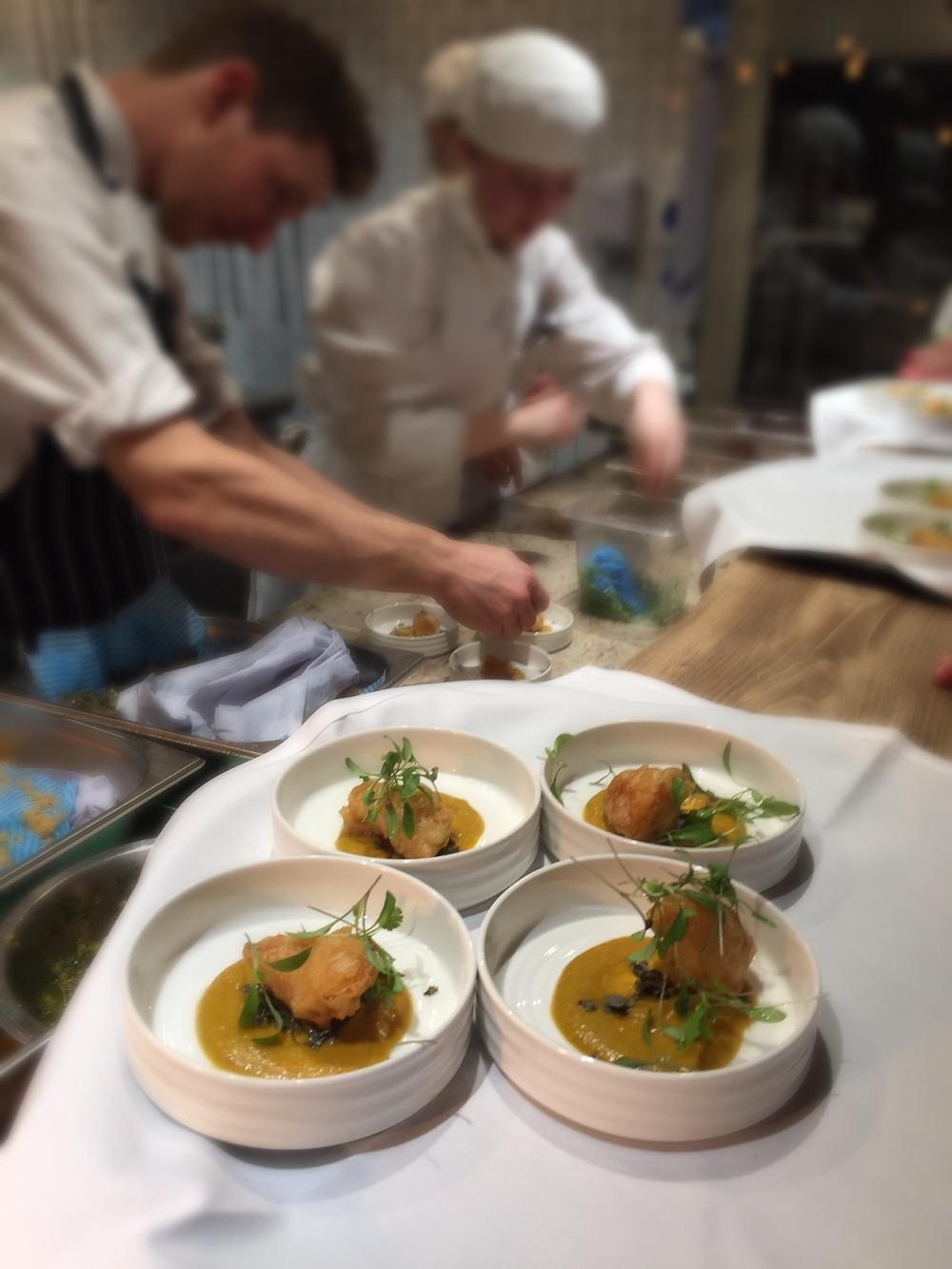 Crispy Monkfish cheek, curry sauce and Coriander