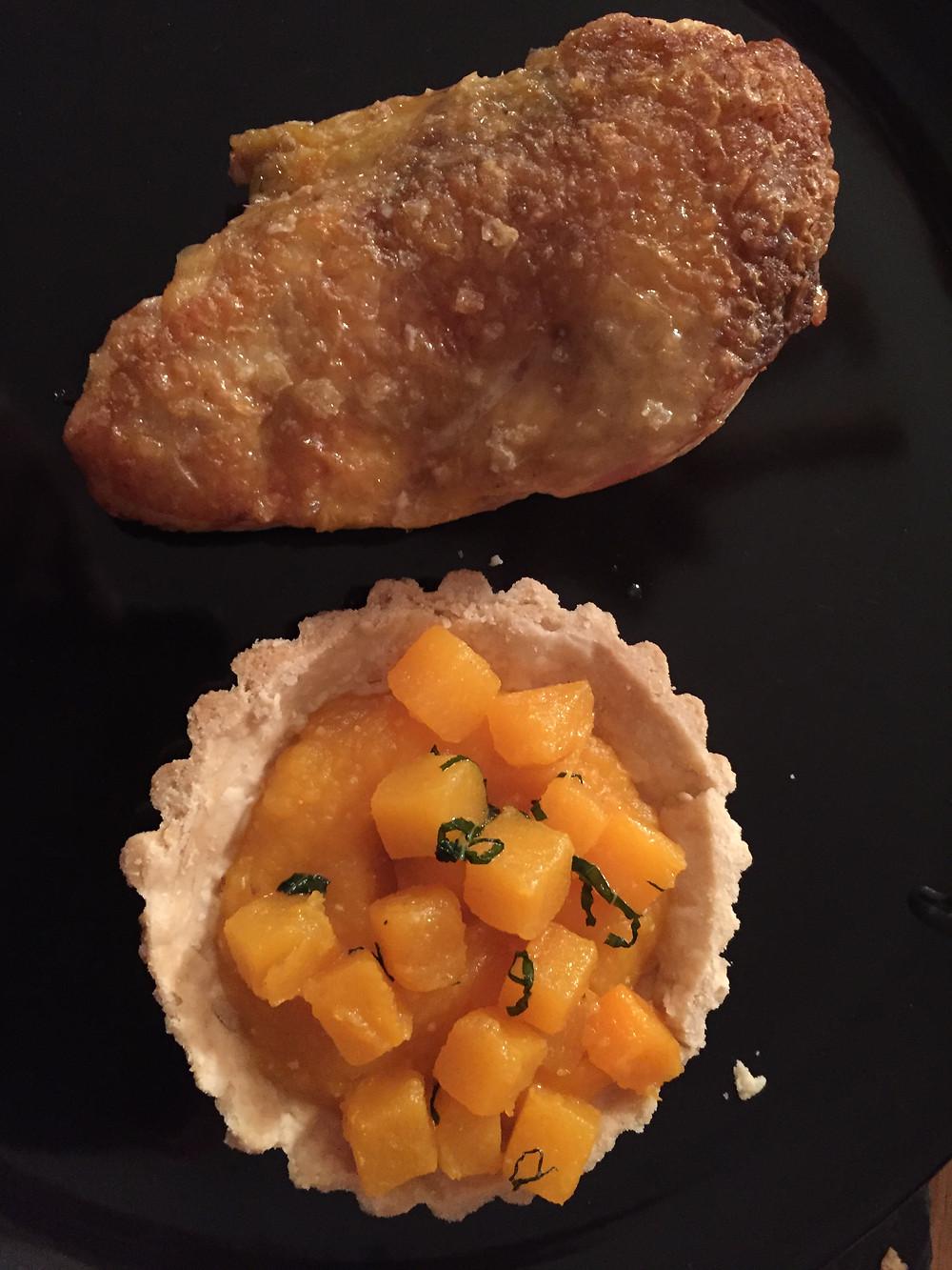 Pan roasted Guinea Fowl and Butternut Squash tart