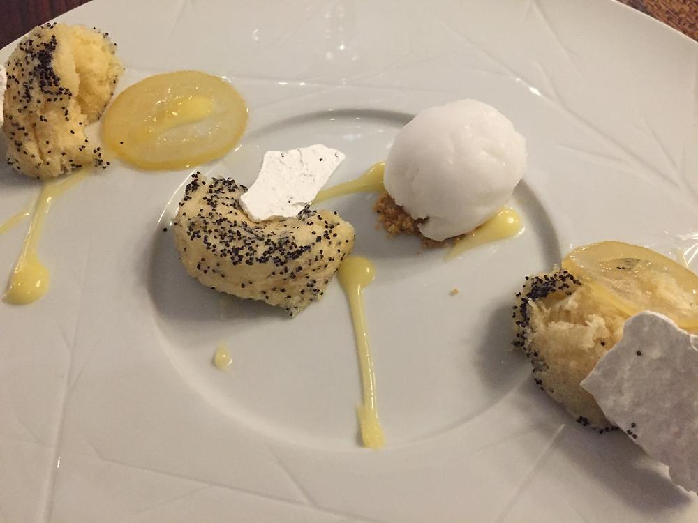 Lemon poppy seed sponge, meringue, lemon sorbet