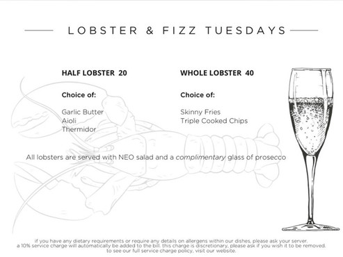 NEO - Lobster and Fizz Tuesday
