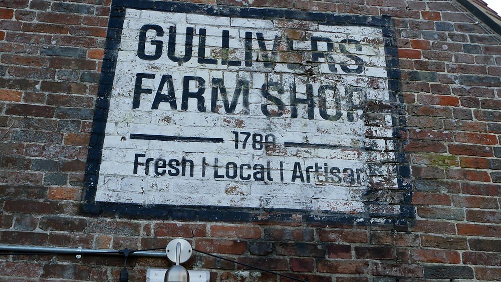 Gullivers Farm Shop sign