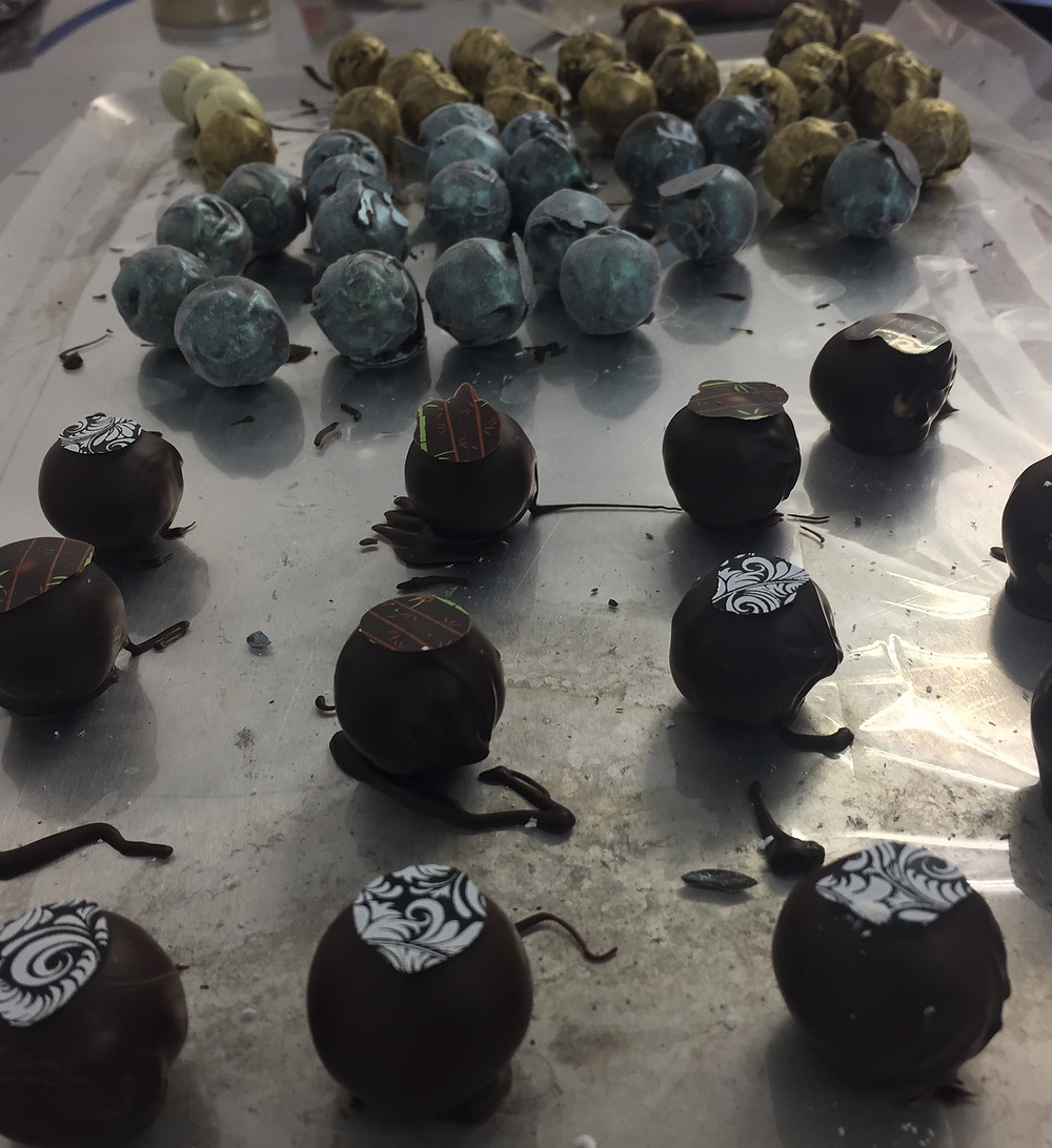 Finished gin flavoured chocolates