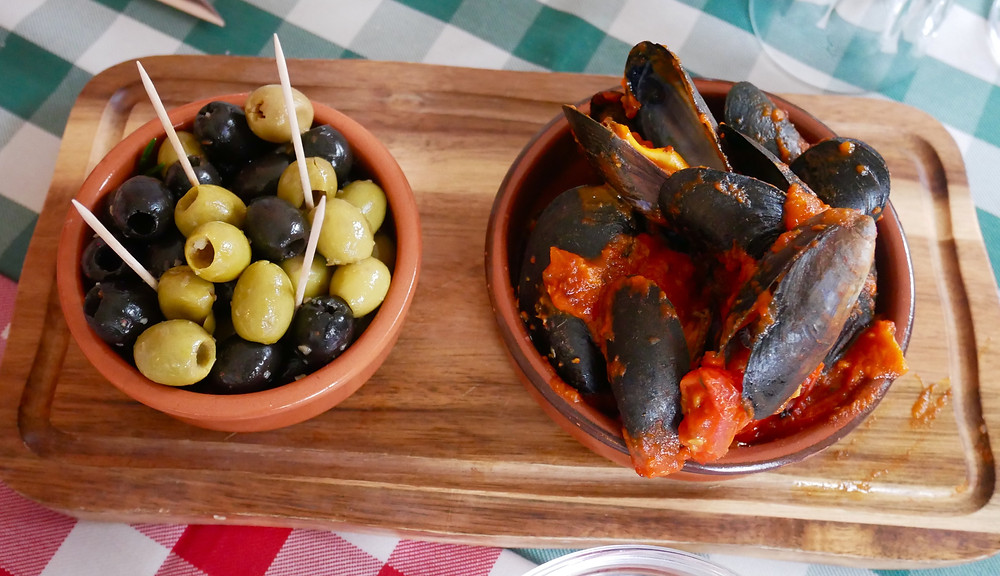 Scottish Mussels, mixed olives