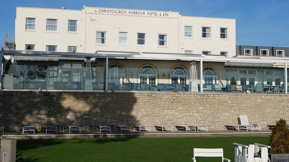 Back view of Christchurch Harbour Hotel