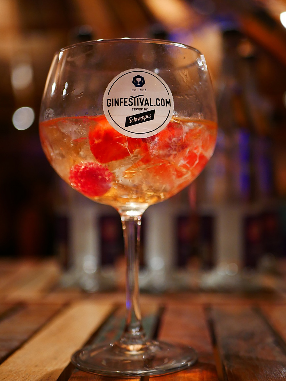 Strawberry gin in a balloon glass