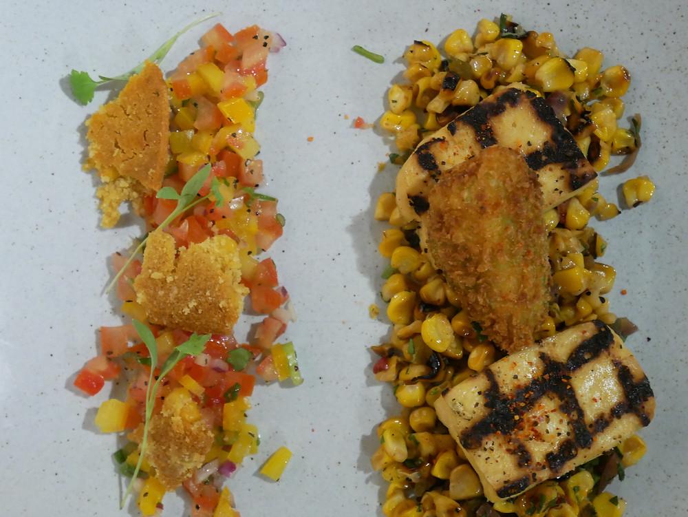 sweetcorn succotash, tequila grilled tofu, citrus salsa, crispy avocado, cornbread crouton
