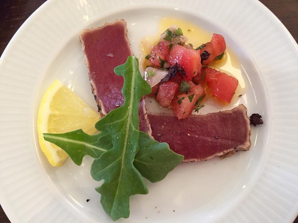 Beautiful seared tuna with a tomato salad