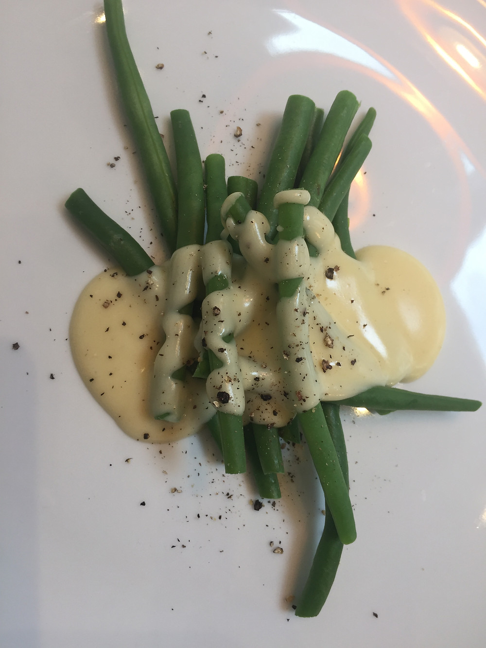 French beans and Black Cow Cheese