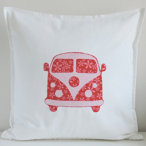 White Appliqué Camper Van Cushion