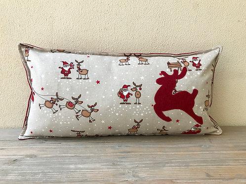 Santa's Sleigh Cushion with Appliqué Reindeer