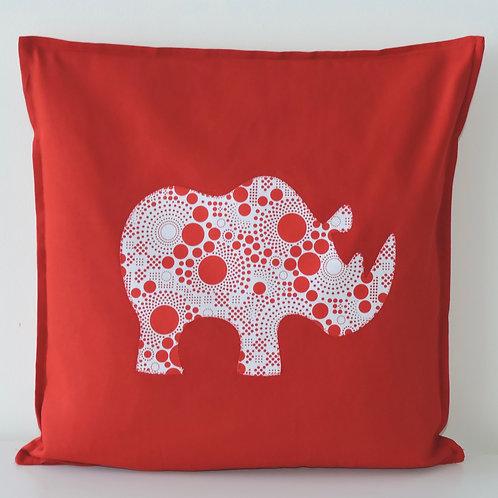 Red Appliqué Rhino Cushion