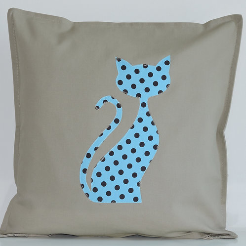 Neutral Appliqué Cat Cushion
