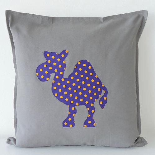 Grey Appliqué Camel Cushion