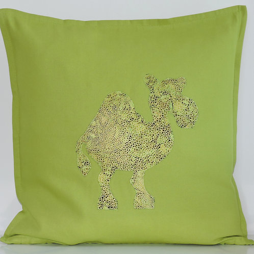 Lime Green Appliqué Camel Cushion