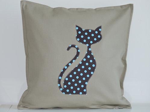 Neutral Appliqué Cat Cushion