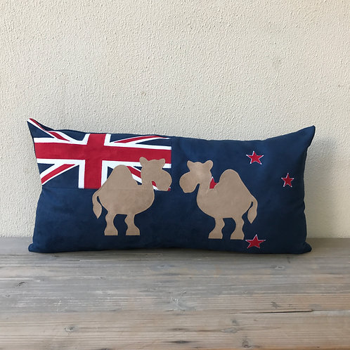 New Zealand Flag Cushion with Appliqué Camels