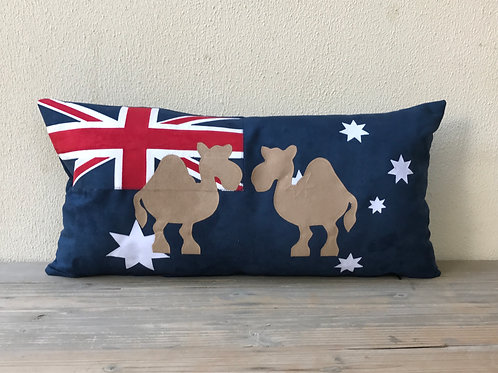 Australian Flag Cushion with Appliqué Camels