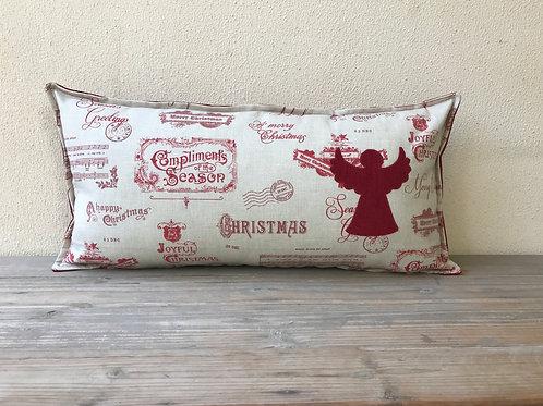 Christmas Words Cushion with Appliqué Angel