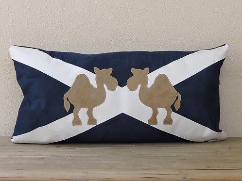 Scottish Flag Cushion with Appliqué Camels