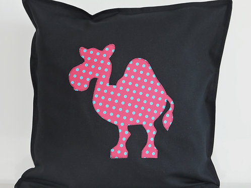 Black Appliqué Camel Cushion