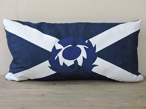 Scottish Flag Cushion with Appliqué Thistle
