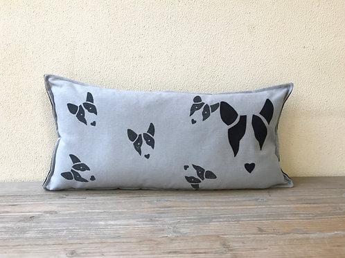 English Bull Terrier Cushion with Appliqué Bully Head