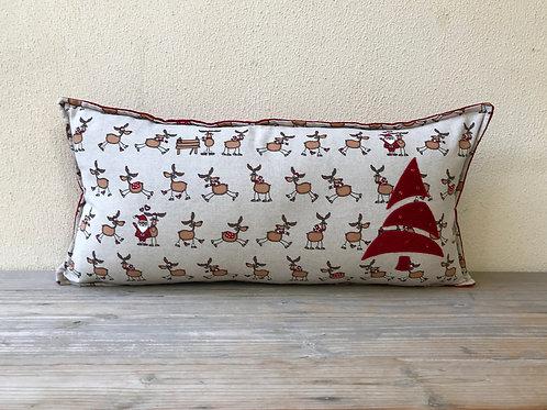 Reindeer Row Cushion with Appliqué Christmas Tree