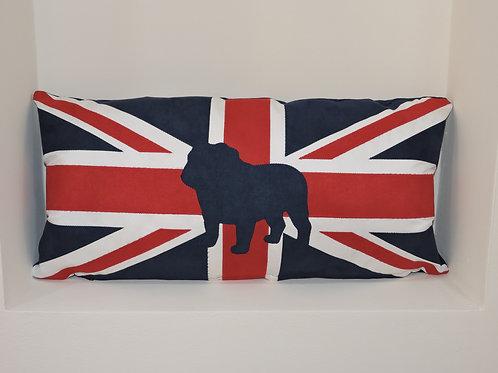 Union Jack Cushion with Appliqué Bull Dog