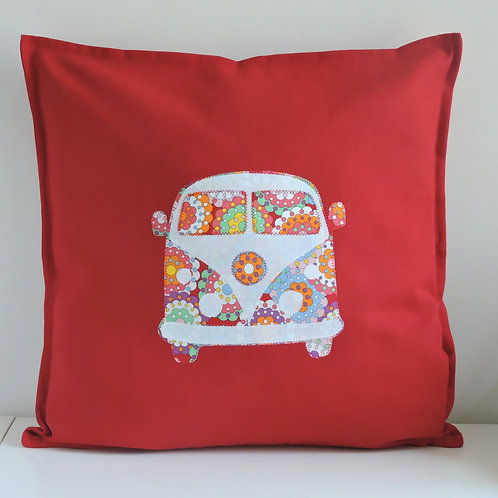 Red Appliqué Camper Van Cushion