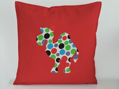 Red Appliqué Camel Cushion