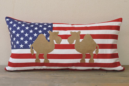 American Flag Cushion with Appliqué Camels
