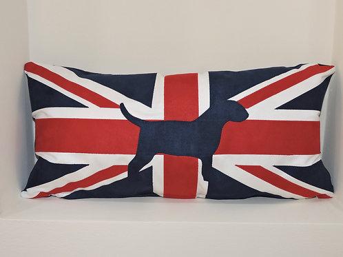 Union Jack Cushion with Appliqué English Bull Terrier